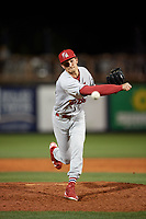 Palm Beach Cardinals relief pitcher Tyler Bray (31) delivers a pitch during a game against the Charlotte Stone Crabs on April 11, 2017 at Charlotte Sports Park in Port Charlotte, Florida.  Palm Beach defeated Charlotte 12-6.  (Mike Janes/Four Seam Images)
