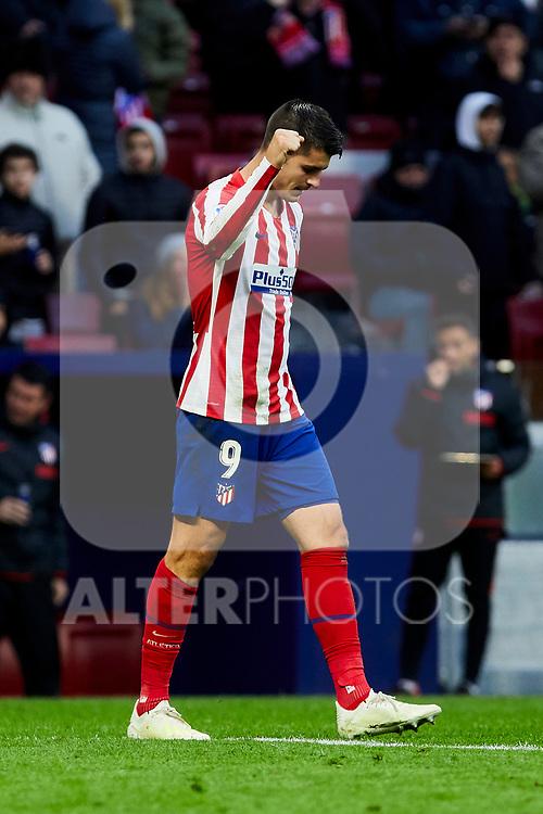 Alvaro Morata of Atletico de Madrid celebrates goal during La Liga match between Atletico de Madrid and RCD Espanyol at Wanda Metropolitano Stadium in Madrid, Spain. November 10, 2019. (ALTERPHOTOS/A. Perez Meca)