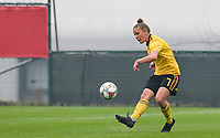 20190409 - TUBIZE , Belgium : Belgian Karlijn Knapen pictured during a women soccer game between the under 19 teams of Belgium and Poland. This is the Third and final game in their elite round qualification for the European Championship in Schotland 2019. The Belgian national women's soccer team is called the Red Flames, on the 9 th of April in Tubize. PHOTO DAVID CATRY | Sportpix.be
