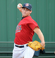 Pitcher Tim Atherton (37) of the Elizabethton Twins, Appalachian League affiliate of the Minnesota Twins, prior to a game against the Bristol White Sox on August 18, 2011, at Joe O'Brien Field in Elizabethton, Tennessee. Elizabethton defeated Bristol, 13-3. (Tom Priddy/Four Seam Images)