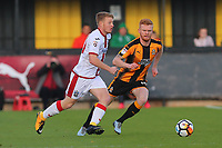 Tommy Wright of Sutton and Liam O'Neil of Cambridge  during Cambridge United vs Sutton United , Emirates FA Cup Football at the Cambs Glass Stadium on 5th November 2017
