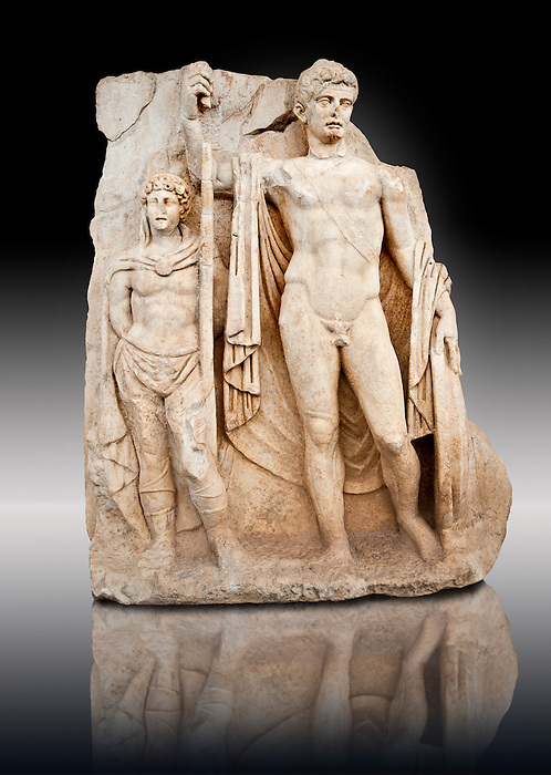 Sculpture of Roman Emperor Tiberius and a barbarian captive. Aphrodisias Archaeological museum, Turkey
