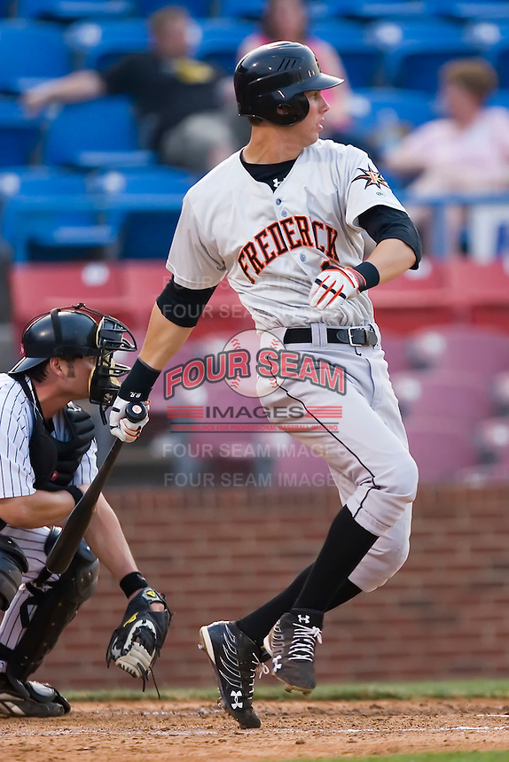 Third baseman Bill Rowell (11) of the Frederick Keys follows through on his swing versus the Winston-Salem Warthogs at Ernie Shore Field in Winston-Salem, NC, Saturday, June 7, 2008.