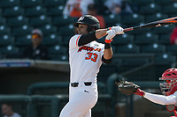 Oregon State Beavers left fielder Preston Jones (33) follows through on his swing during a game against the New Mexico Lobos on February 15, 2019 at Surprise Stadium in Surprise, Arizona. Oregon State defeated New Mexico 6-5. (Zachary Lucy/Four Seam Images)