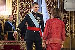 King Felipe VI of Spain receives the credential letters from Uganda Republic Ambassador Nimisha Jayant Madhvani at Palacio Real in Madrid, Spain. July 17, 2013. (ALTERPHOTOS/Victor Blanco)
