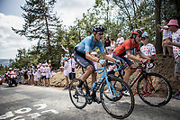 Ivan Garcia Cortina (ESP/Bahrain Merida) and Marc Soler (ESP/movistar) in the breakaway group up the 'Mur d'Aurac-sur-Loire'<br /> <br /> Stage 9: Saint-Étienne to Brioude (170km)<br /> 106th Tour de France 2019 (2.UWT)<br /> <br /> ©kramon