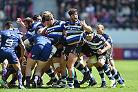 Nathan Catt of Bath Rugby in action at a scrum. European Rugby Challenge Cup Semi Final, between Stade Francais and Bath Rugby on April 23, 2017 at the Stade Jean-Bouin in Paris, France. Photo by: Patrick Khachfe / Onside Images