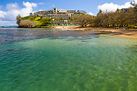 Princeville Resort seen from the reef and ocean, Kaua'i.
