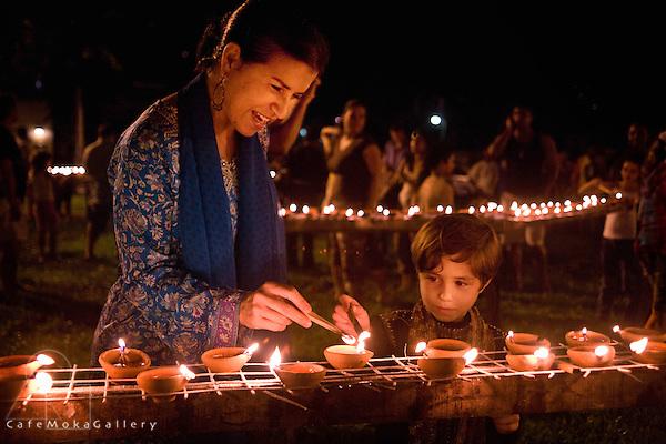 Divali,Hindu festival of light, lighting deyas