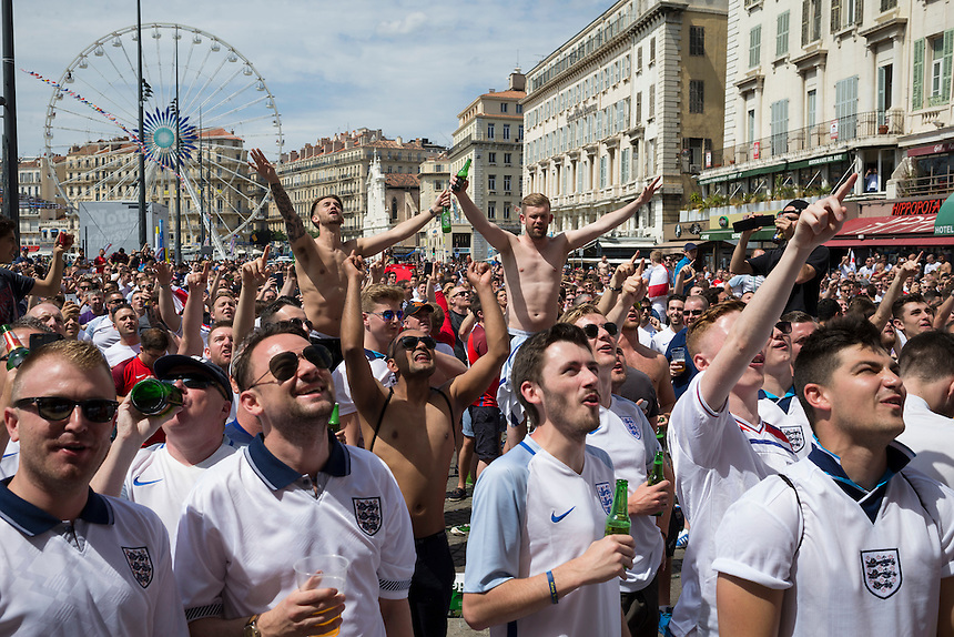 England fans enjoy the pre-match build up in Marseille old town before the game<br /> <br /> Photographer Craig Mercer/CameraSport<br /> <br /> International Football - 2016 UEFA European Championship - Group B - England v Russia - Saturday 11th June 2016 - Stade Velodrome, Marseille - France <br /> <br /> World Copyright &copy; 2016 CameraSport. All rights reserved. 43 Linden Ave. Countesthorpe. Leicester. England. LE8 5PG - Tel: +44 (0) 116 277 4147 - admin@camerasport.com - www.camerasport.com