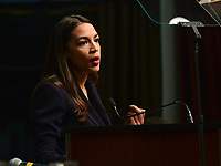 New York, NY - April 5, 2019: U.S. Representative Alexandria Ocasio-Cortez speaks during the National Action Network's Annual Convention hosted by the Rev. Al Sharpton at the Times Square Sheraton Hotel in New York City, April 5, 2019.  (Photo by Don Baxter/Media Images International)