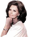 Portrait of the Italian actress Sophia Loren from 1986. Photo Allian Warren.