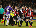 Sheffield Utd players deflated at the end of the match during the Championship match at Bramall Lane Stadium, Sheffield. Picture date 30th December 2017. Picture credit should read: Simon Bellis/Sportimage
