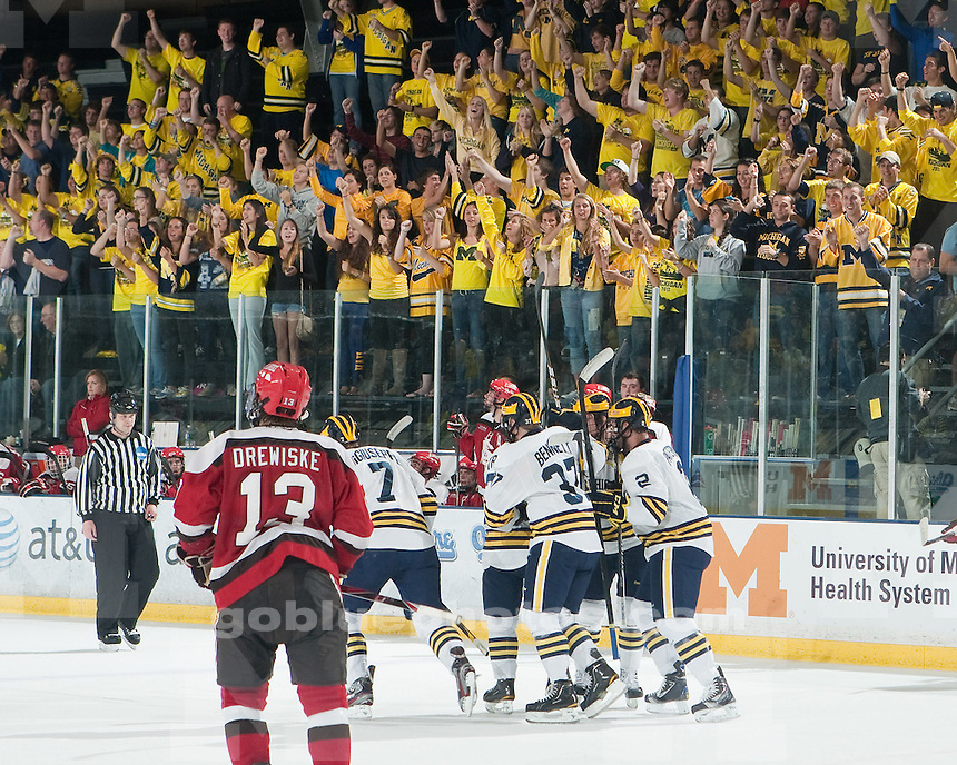 The University of Michigan men's ice hockey team beat St. Lawrence 10-3 at Yost Ice Arena in Ann Arbor, Mich.,  on October 13, 2011.