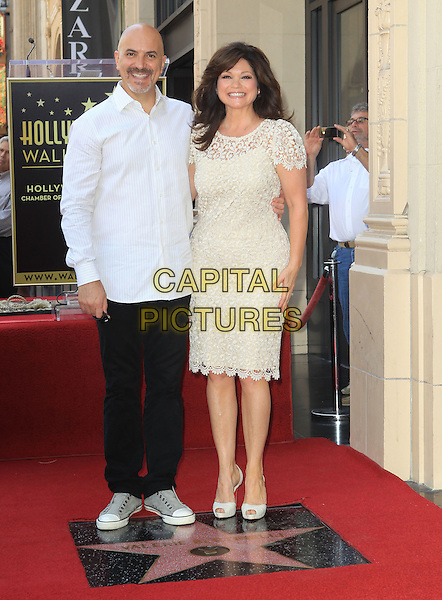 Tom Vitale & Valerie Bertinelli.Valerie Bertinelli Honored With Star On The Hollywood Walk Of Fame Held On Hollywood Blvd., Hollywood, California, USA..August 22nd, 2012.full length white lace cream dress white shirt black trousers married husband wife .CAP/ADM/KB.©Kevan Brooks/AdMedia/Capital Pictures.