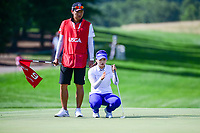 Hye-Jin Choi (a)(KOR) lines up her birdie putt on 9 during Sunday's final round of the 72nd U.S. Women's Open Championship, at Trump National Golf Club, Bedminster, New Jersey. 7/16/2017.<br /> Picture: Golffile | Ken Murray<br /> <br /> <br /> All photo usage must carry mandatory copyright credit (&copy; Golffile | Ken Murray)