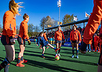 UTRECHT - Fan of the match doet mee aan de warming up,     tijdens de Pro League hockeywedstrijd wedstrijd , Nederland-China . COPYRIGHT  KOEN SUYK