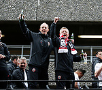 Alan Knill and Chris Wilder during the open top bus parade from Bramall Lane Stadium to Sheffield Town Hall, Sheffield. Picture date: May 2nd 2017. Pic credit should read: Simon Bellis/Sportimage