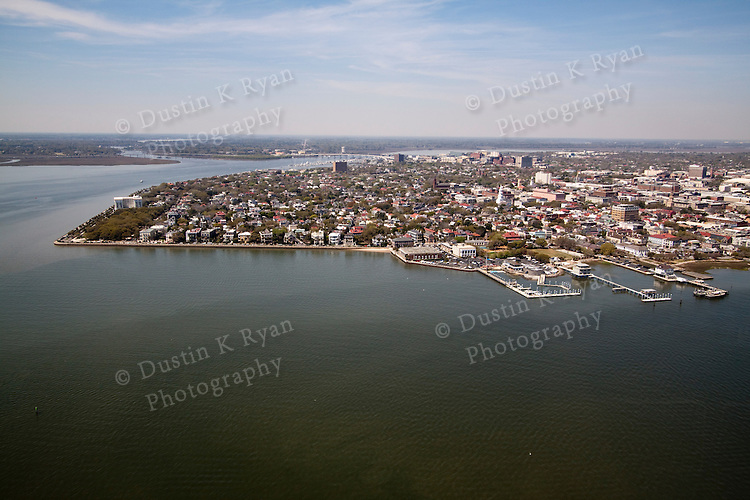 Historic Battery row downtown Charleston South Carolina Aerial Photograph