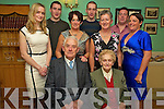 Jerh Buckley, Fossa, ppictured with his wife Bridie, Demetria, Mary and Kathleen O'Sullivan, Aoife Concannon, Timothy O'Sullivan, Miceal and Eoin and Mary Concannon, at his 90th celebration party in Kate Kearneys on Saturday night..
