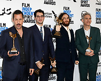 LOS ANGELES - FEB 8:  Adam Sandler, Benny Safdie, Josh Safdie, Ronald Brownstein at the 2020 Film Independent Spirit Awards at the Beach on February 8, 2020 in Santa Monica, CA