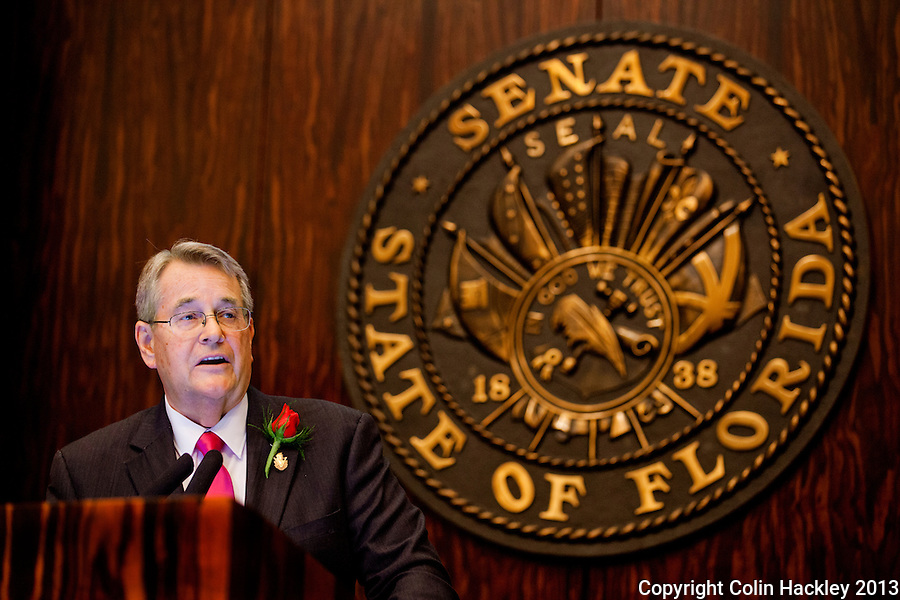 TALLAHASSEE, FLA. 3/5/13-OPENING030513CH-Senate President Don Gaetz, R-Niceville, speaks during the opening day of the 2013 legislative session Tuesday at the Capitol in Tallahassee, Fla..COLIN HACKLEY PHOTO