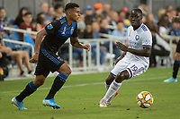 SAN JOSE,  - SEPTEMBER 1: Marcos López #27 of the San Jose Earthquakes and Benji Michel  #19 of the Orlando City SC during a game between Orlando City SC and San Jose Earthquakes at Avaya Stadium on September 1, 2019 in San Jose, .