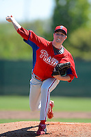 Philadelphia Phillies pitcher Andrew Alzenstadt (68) during a minor league Spring Training game against the New York Yankees at Carpenter Complex on March 21, 2013 in Clearwater, Florida.  (Mike Janes/Four Seam Images)