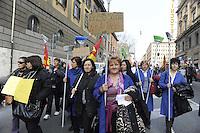 Roma, 11 Marzo 2011.Sciopero e corteo del sindacato autonomo Unione Sindacale di Base.lavoratrici ex lsu delle scuole