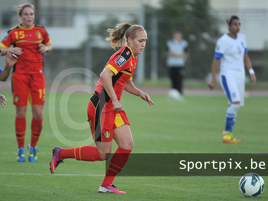 20131026 - LIVADIA , GREECE : Belgian Janice Cayman pictured during the female soccer match between Greece and Belgium , on the third matchday in group 5 of the UEFA qualifying round to the FIFA Women World Cup in Canada 2015 at the Levadia Municipal Stadium , Livadia . Saturday 26th October 2013. PHOTO DAVID CATRY