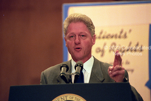United States President Bill Clinton makes remarks at an event in the Dirksen Senate Office Building on Capitol Hill to advocate for the passage of the &quot;Patient's Bill of Rights&quot; on Thursday, July 16, 1998.<br /> Credit: Ron Sachs / CNP
