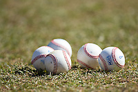 NCAA baseballs are ready to be put to use in the game between the Shippensburg Raiders and the Belmont Abbey Crusaders at Abbey Yard on February 8, 2015 in Belmont, North Carolina.  The Raiders defeated the Crusaders 14-0.  (Brian Westerholt/Four Seam Images)