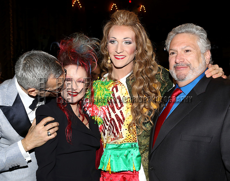 Jerry Mitchell, Cyndi Lauper, Charlie Sutton & Harvey Fierstein attending the Opening Night Gypsy Robe Ceremony honoring Charlie Sutton for 'Kinky Boots' at the Al Hirschfeld Theatre in New York City on 4/4/2013