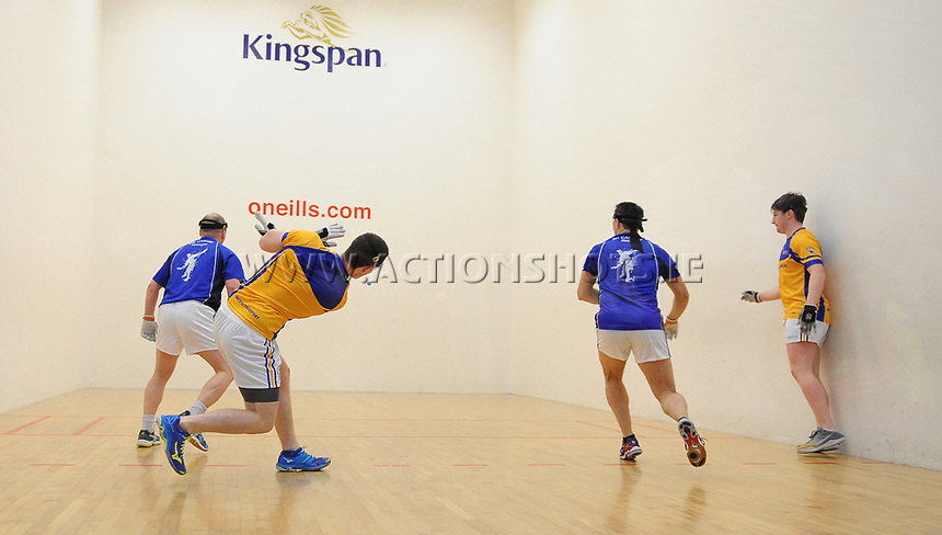 07/04/2018; GAA Handball O&rsquo;Neills 40x20 Championship Mens Senior Final - Cavan (Paul Brady/Michael Finnegan v Clare (Diarmuid Nash/Colin Crehan); Kingscourt, Co Cavan;<br /> <br /> Photo Credit: actionshots.ie/Tommy Grealy