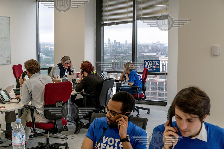 Volunteers operate the phones for the Remain (in the EU) campaign in their offices in Canary Wharf on the morning of the EU referendum.