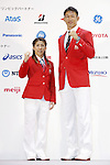 (L-R) Saori Yoshida, Keisuke Ushiro, July 3, 2016 - <br /> Olympic : Japan National team held a press conference for Rio de Janeiro <br /> Olympic Games at Yoyogi Gymnasium, Tokyo, Japan. <br /> (Photo by Yusuke Nakanishi/AFLO SPORT)