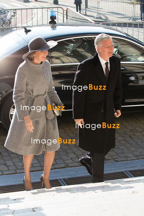 Le Roi Philippe et la Reine Mathilde de Belgique assistent &agrave; la messe c&eacute;l&eacute;br&eacute;e &agrave; la m&eacute;moire des Membres d&eacute;funts de la Famille Royale belge, &agrave; l'&eacute;glise Notre-Dame &agrave; Laeken. La princesse L&eacute;a de Belgique, la princesse Margaretha du Luxembourg, son mari, le Prince Nikolaus,  la Princeese Maria Esm&eacute;ralda de Belgique et Renaud Bichara &eacute;taient parmi les invit&eacute;s.<br /> Belgique, Bruxelles, 17 f&eacute;vrier 2016<br /> King Philippe and Queen Mathilde of Belgium attend the annual celebration of the Eucharist in memory of the deceased members of the Royal Family. <br /> Princess Lea of Belgium, Princess Margaretha of Luxembourg, her husband Prince Nikolaus of Liechtenstein, Princess Maria Esmeralda of Belgium and Renaud Bichara were also attending the Mass at the Our Lady  church in Laeken.<br /> Belgium, Brussels, 17 February 2016
