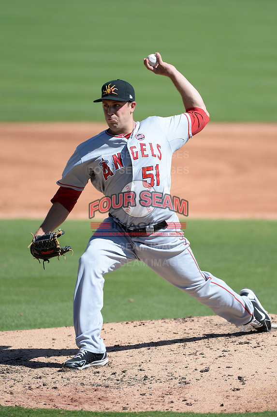 Mesa Solar Sox pitcher Michael Roth (51), of the Los Angeles Angels of Anaheim organization, during an Arizona Fall League game against the Glendale Desert Dogs on October 8, 2013 at Camelback Ranch Stadium in Glendale, Arizona.  The game ended in an 8-8 tie after 11 innings.  (Mike Janes/Four Seam Images)