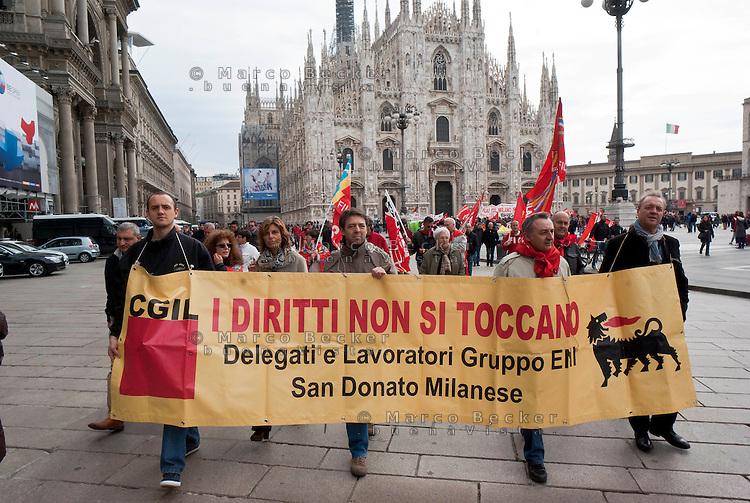 Milano, sciopero generale proclamato dalla CGIL per protestare contro il governo Monti e la riforma del lavoro. ENI --- Milan, general strike proclaimed by CGIL trade union, as a protest against the government and the labor reform