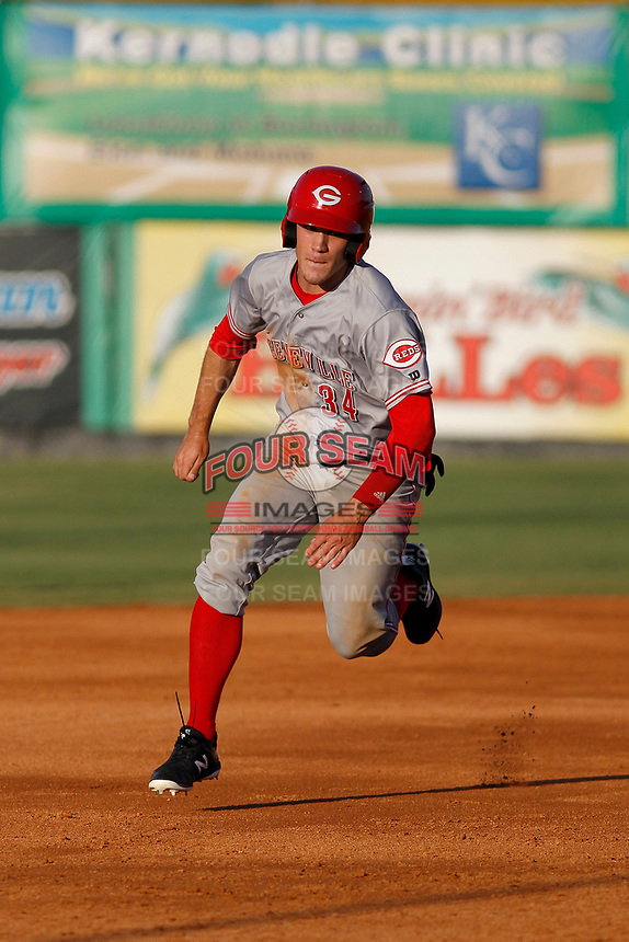 Greeneville Reds outfielder Mike Siani (34) running the bases during a game against the Burlington Royals at the Burlington Athletic Complex on July 7, 2018 in Burlington, North Carolina. It was his first game as a professional baseball player. Burlington defeated Greeneville 2-1. (Robert Gurganus/Four Seam Images)