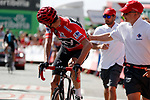 Race leader Christopher Froome (GBR) Team Sky crosses the finish line at the end of Stage 15 of the 2017 La Vuelta, running 129.4km from Alcal&aacute; la Real to Sierra Nevada. Alto Hoya de la Mora. Monachil, Spain. 3rd September 2017.<br /> Picture: Unipublic/&copy;photogomezsport | Cyclefile<br /> <br /> <br /> All photos usage must carry mandatory copyright credit (&copy; Cyclefile | Unipublic/&copy;photogomezsport)