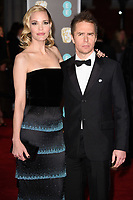 Sam Rockwell &amp; Leslie Bibb arriving for the BAFTA Film Awards 2018 at the Royal Albert Hall, London, UK. <br /> 18 February  2018<br /> Picture: Steve Vas/Featureflash/SilverHub 0208 004 5359 sales@silverhubmedia.com