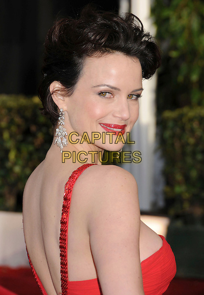 CARLA GUGINO.14th Annual Screen Actors Guild Awards held at the Shrine Auditorium, Los Angeles, California, USA..January 27th, 2008.SAG red carpet arrivals headshot portrait red lipstick dangling earrings looking over shoulder diamond .CAP/ADM/BP.©Byron Purvis/AdMedia/Capital Pictures. *** Local Caption *** .