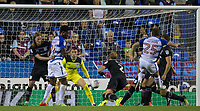 Goalkeeper Sam Johnstone (on loan for Manchester United) of Aston Villa saves a shot from Adrian Popa (25) of Reading during the Sky Bet Championship match between Reading and Aston Villa at the Madejski Stadium, Reading, England on 15 August 2017. Photo by Andy Rowland / PRiME Media Images.