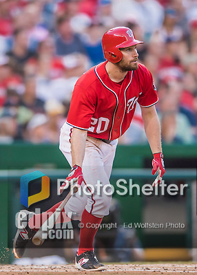 23 July 2016: Washington Nationals infielder Daniel Murphy in action against the San Diego Padres at Nationals Park in Washington, DC. The Nationals defeated the Padres 3-2 to tie their series at one game apiece. Mandatory Credit: Ed Wolfstein Photo *** RAW (NEF) Image File Available ***