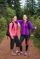 Therese Frentz (cq) and Margaux Mange (cq) hike near Telluride, Colorado, during a No Barriers, Soldiers to Summits Expedition Training, Monday, August 12, 2013. Frentz and Mange are members of the US team participating in the 2013 South Pole Allied Challenge, where teams race over 3 degrees to the geographic South Pole. The race will be composed of teams of wounded service personal from the United States, United Kingdom, and the Commonwealth Nations.<br /> <br /> Photo by Matt Nager