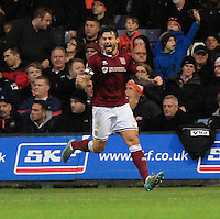 Marc Richards of Northampton celebrates his goal during the Sky Bet League 2 match between Luton Town and Northampton Town at Kenilworth Road, Luton, England on 12 December 2015. Photo by Liam Smith/Prime Media Images.