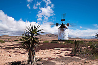 A Windmill (Molino) between Cotillo and Roque, Fuerteventura, Canary Islands, Spain. Many of these traditional windmills can still be found in Fuerteventura, some in a better state of repair than others.