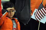 Dominic Lourenco, 3,  of Vernon, salutes the ninety Nation Guard soldiers, including his mother Staff Sgt. Sara Motka, during a deployment send off ceremony at the Connecticut National Guard base, Tuesday, March 7, 2015.  in Windsor Locks. Ninety members of the 1st Battalion, 169th Aviation Regiment, will be deploying to Kosovo  where they'll provide aerial medical evacuation, transportation support and fuel testing, the Connecticut Army National Guard said. (Jim Michaud / Journal Inquirer)