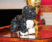 A topiary of Bo made of buttons rests on a table in the Red Room of the White House in Washington, DC.  The theme for the White House Christmas 2011 is Shine, Give, Share - celebrating the countless ways we can lift up those around us, put our best self forward in the spirit of the season, spend time with friends and family, celebrate the joy of giving to others, and share our blessings with all.  The theme translates to the holiday décor on several levels. There is the literal translation through the use of shiny elements – star motifs, quartz and metallics like copper, aluminum and mirrored paper. There is also a conceptual connection – we're inviting visitors to give their thanks to members of our military, and have once again invited guest artists to share their talents working with the White House. This year's décor also includes handmade decorations crafted from simple materials – paper, felt, and even recycled cans. These are projects that anyone can do at home using readily available materials that are inexpensive or free..Credit: Ron Sachs / CNP